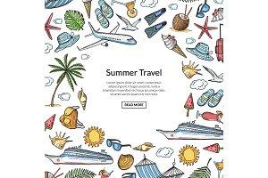 Vector hand drawn summer travel
