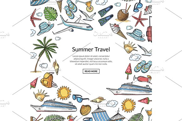 Vector hand drawn summer travel