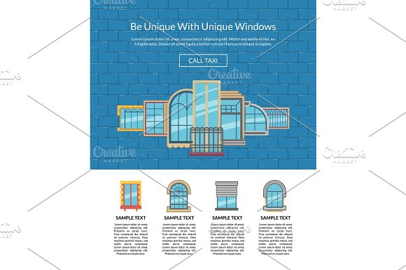 Vector window flat icons on
