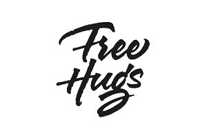 Free Hugs vector lettering