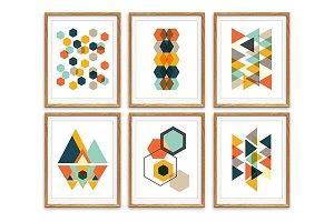 Geometric Wall Art, Set of 6 Prints