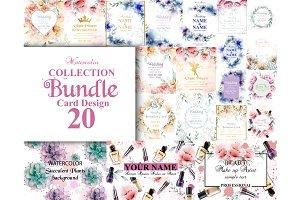 Wedding bundle 20 watercolor cards
