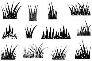 Black textured grass artistic set