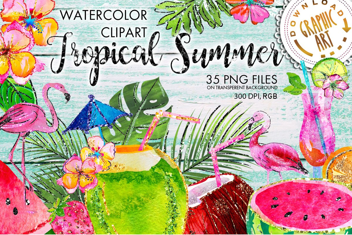 Tropical Summer Clip Art  in Illustrations - product preview 8