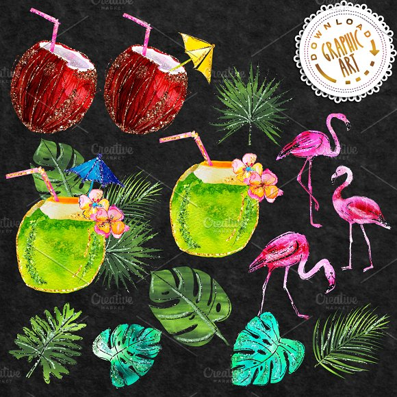 Tropical Summer Clip Art  in Illustrations - product preview 2