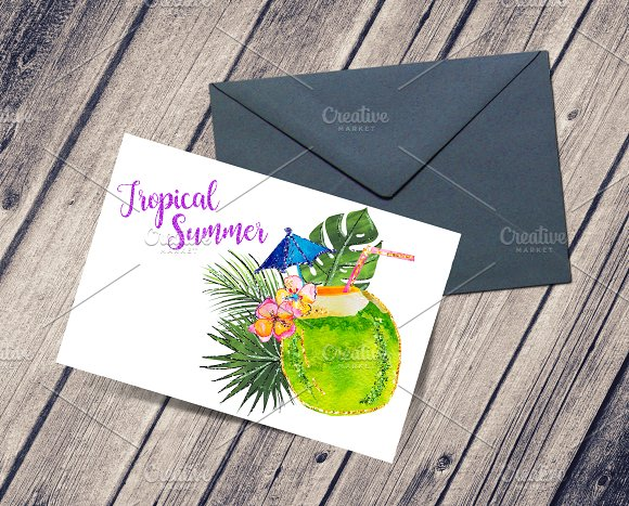 Tropical Summer Clip Art  in Illustrations - product preview 4