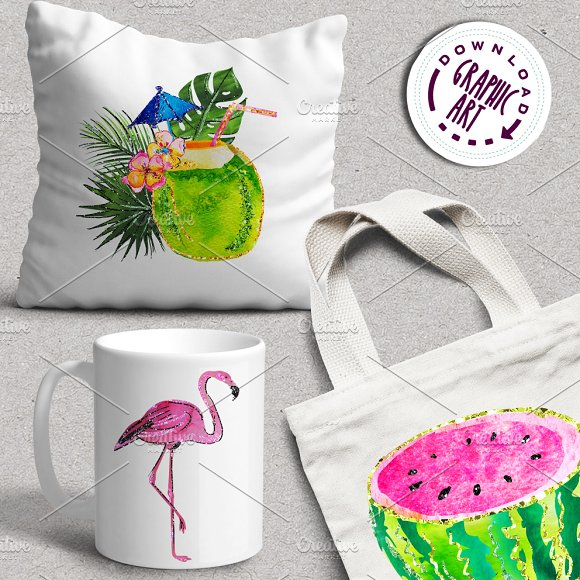 Tropical Summer Clip Art  in Illustrations - product preview 5