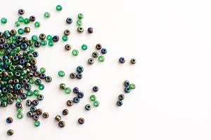 Colorful beads on a white background