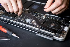 workshop repair the laptop close up