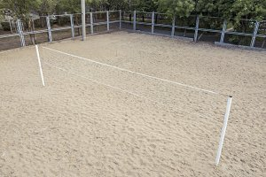 aerial beach volleyball net on the s