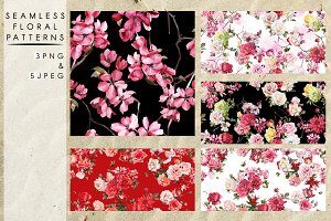 Seamless patterns with pink flowers