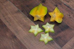 Starfruit on wooden table
