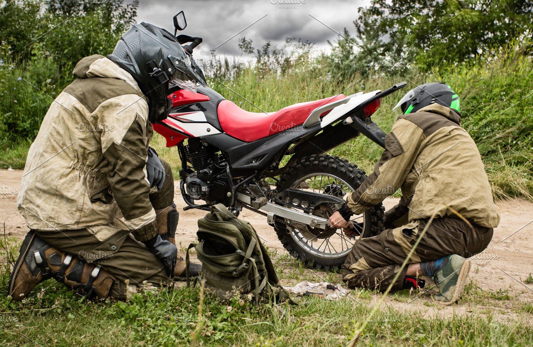 Motorcycle repair on the road