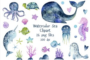 Sea Watercolor Clipart