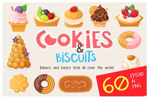 Cookies cakes and biscuits