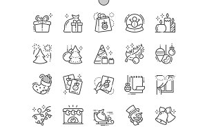 Merry Christmas Line Icons
