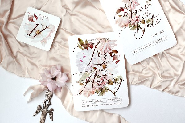 Templates: jul_andersen - Roses Wedding Invitation Suite