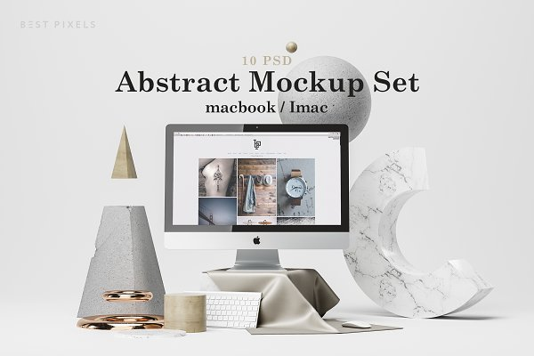 Mobile &amp&#x3B; Web Mockups: Best Pixels - Abstract Mockup Set