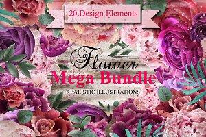 Bundle 20 flower elements