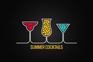 Summer cocktails design menu.