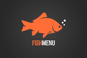 Fish logo on dark background.