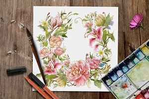 Handy Watercolor floral wreath