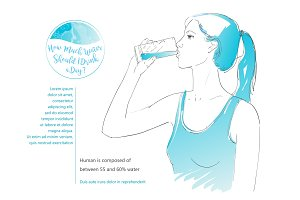 vector woman drinking water