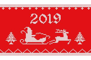 2019 knitted on red