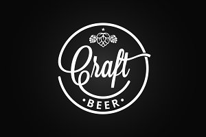 Craft beer vintage logo on black.