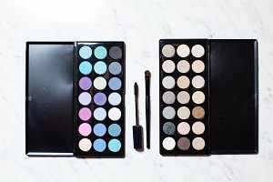 Full palette of shades for makeup
