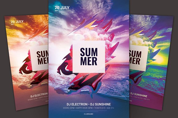 summer flyer flyer templates creative market