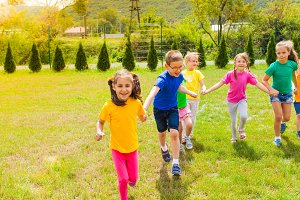 Children playing outdoors in the