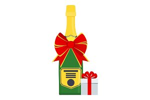 bottle of champagne with gift