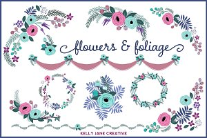 Blue & Purple Floral Design Elements