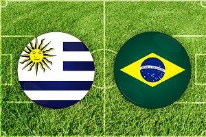 Uruguay vs Brazil football match