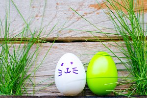 Easter eggs on green grass. Spring h