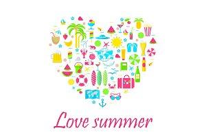 love summer card on white