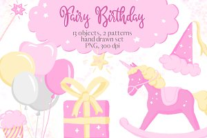 Fairy Birthday Pink Girl Clipart Set
