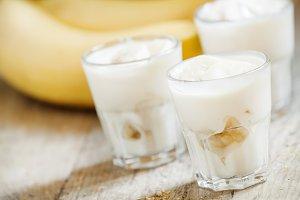 Fresh homemade banana yogurt in glas