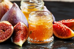 Delicious jam sweet figs with honey,