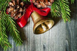 Christmas background with a bronze b