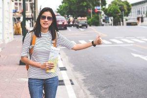 smart women treveller in bangkok cal