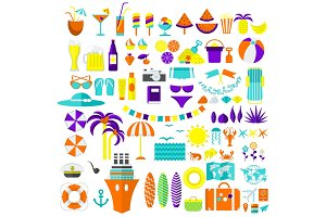 summer icons big set