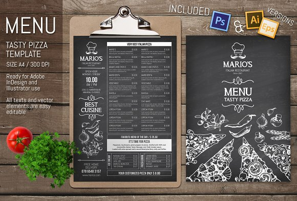 pizzeria restaurant menu template stationery templates creative
