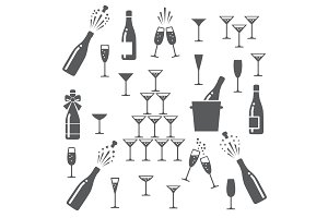 Champagne icons set