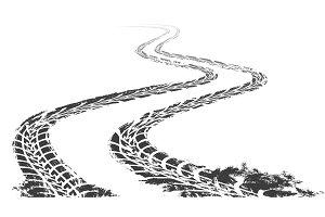 Winding tire track