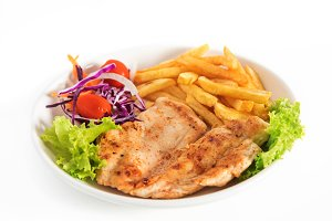 Grilled chicken breast steak with