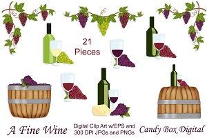 Wine and Grape Clip Art