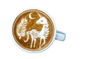 A Cup of coffee with latte art menu