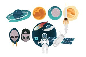 Outer space theme objects set with